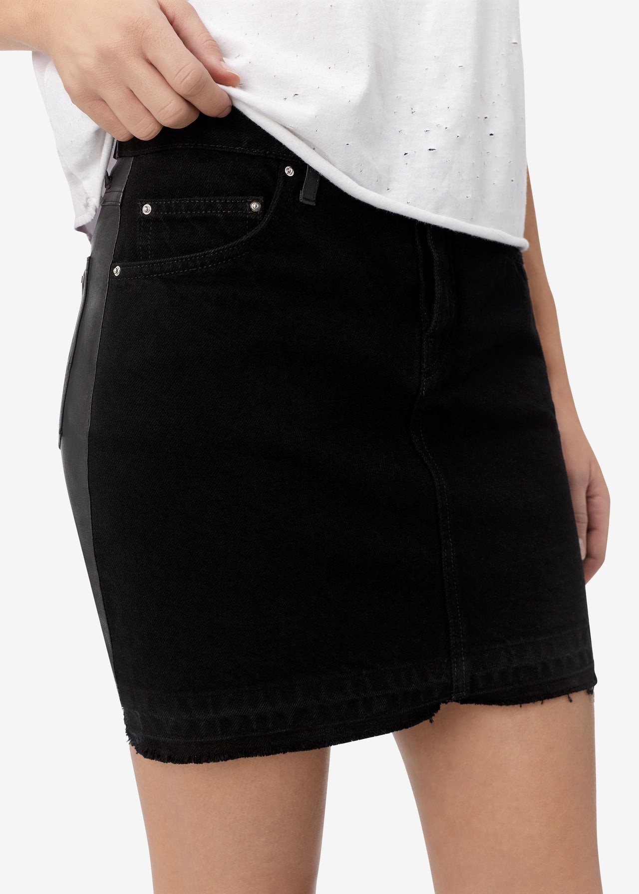 HIGH WAISTED SKIRT / LEATHER BACK - ANTIQUE BLACK