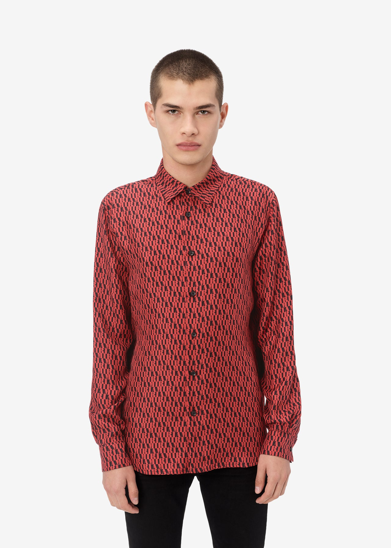 AMIRI ALL OVER LONG SLEEVE SHIRT - BLACK / RED