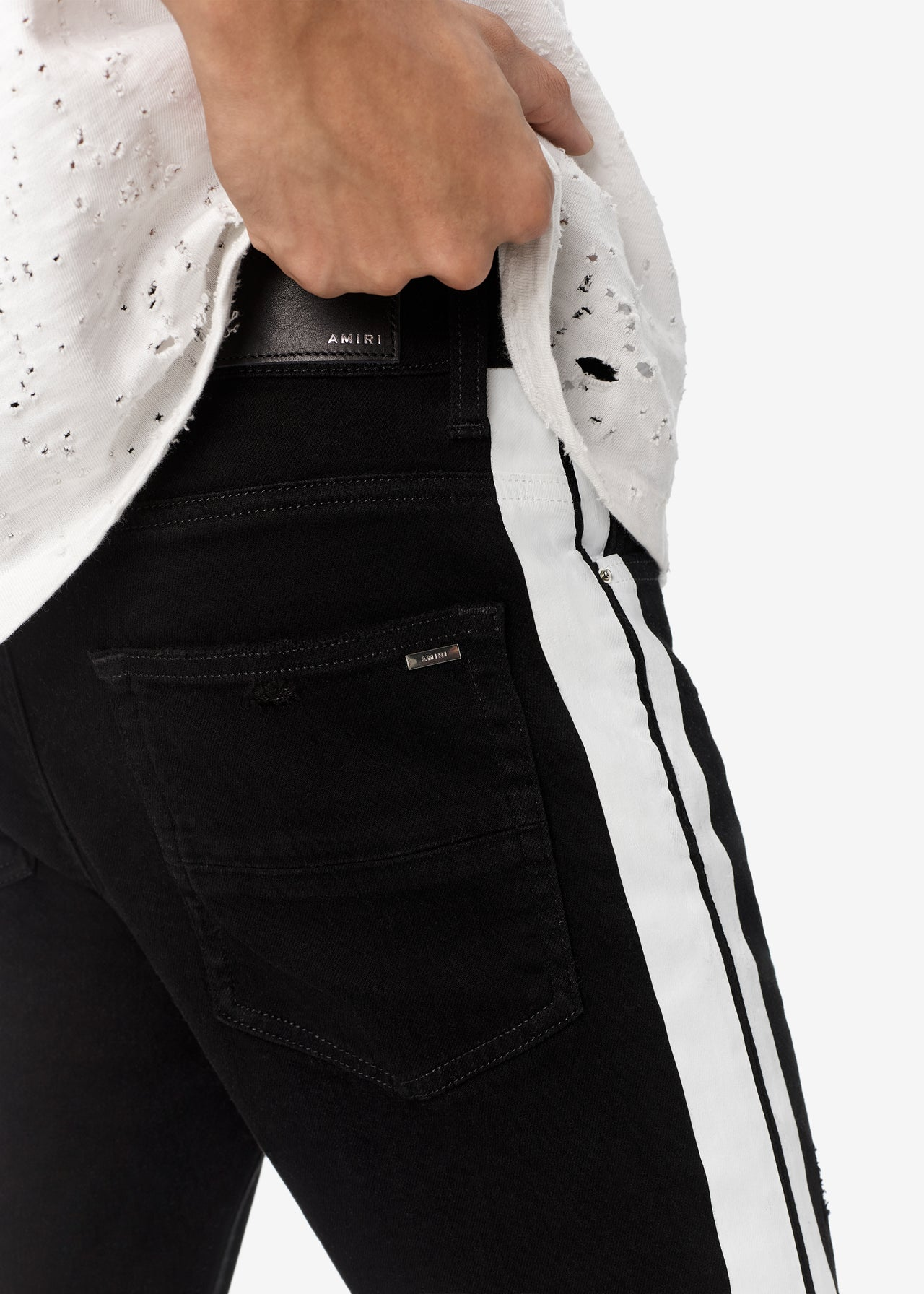 TRACK JEAN - WHITE STRIPE / BLACK