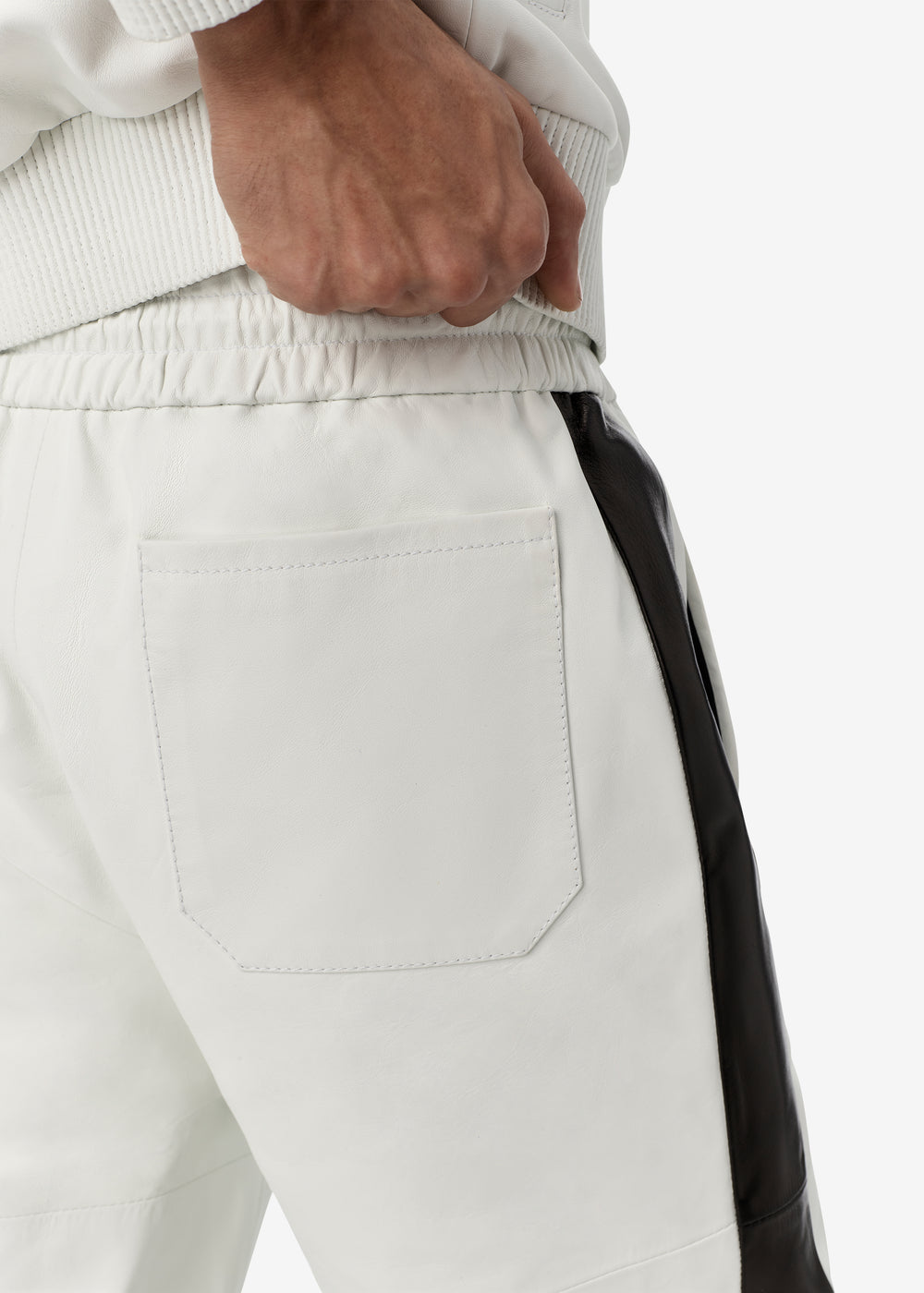 M.A. LEATHER TRACK JOGGER - OPTICAL WHITE