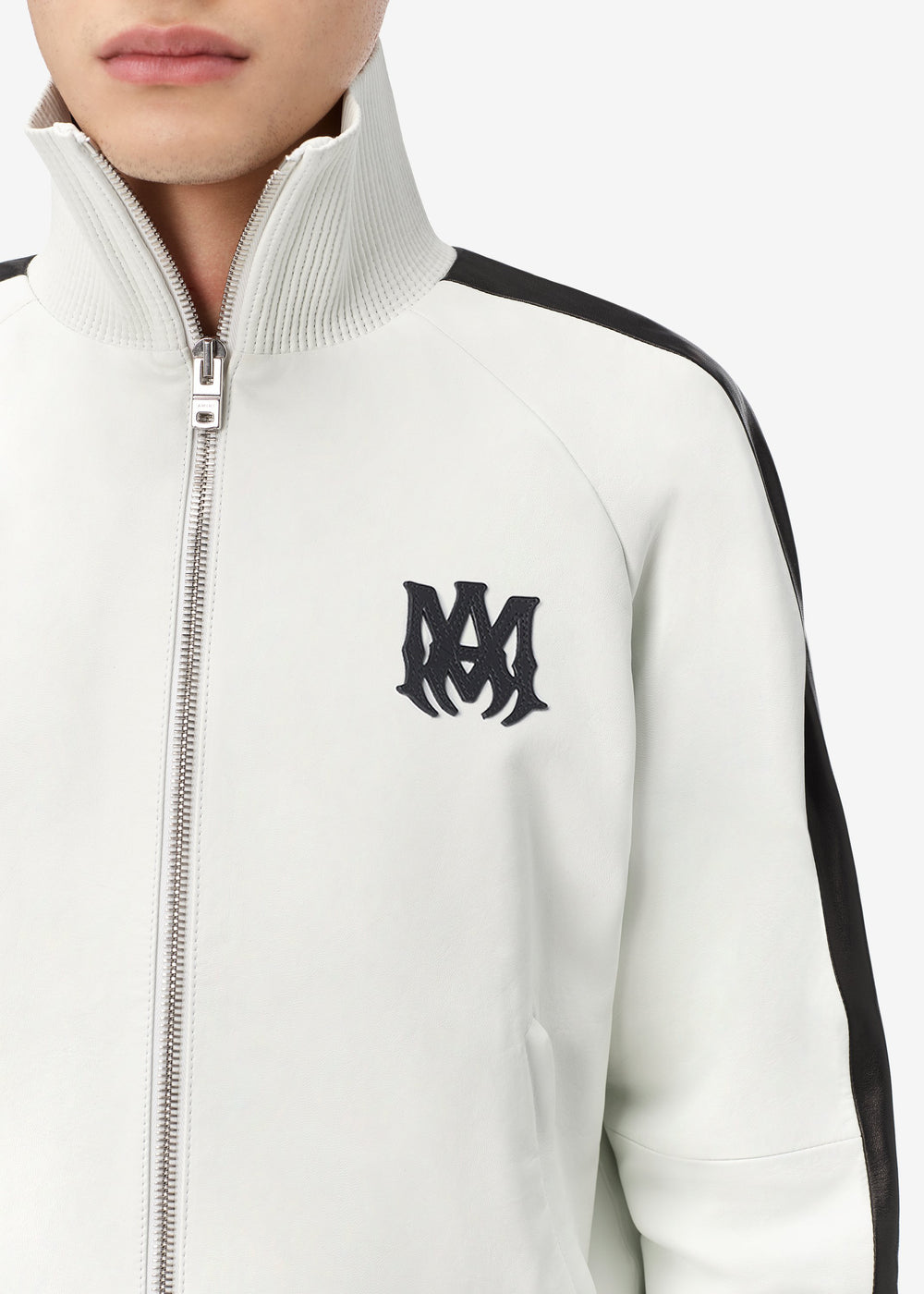 M.A. LEATHER ZIP TRACK JACKET - OPTICAL WHITE