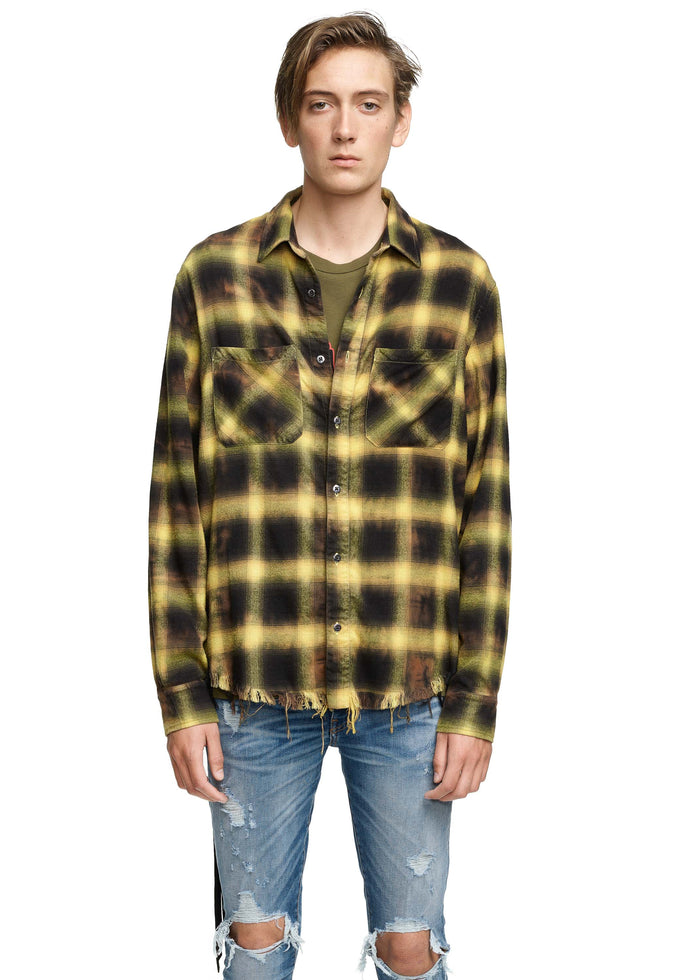 Tie Dye Blotch Plaid Yellow/Black