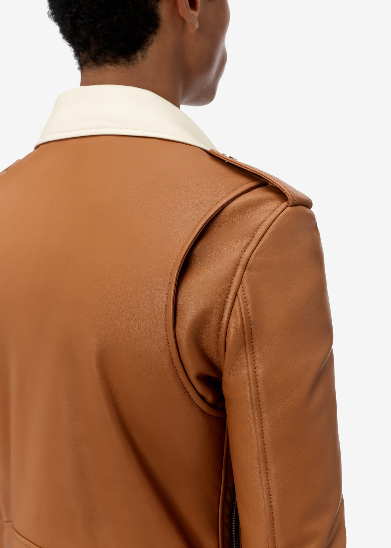 CONTRAST COLLAR LEATHER PERFECTO - BROWN / ALABASTER