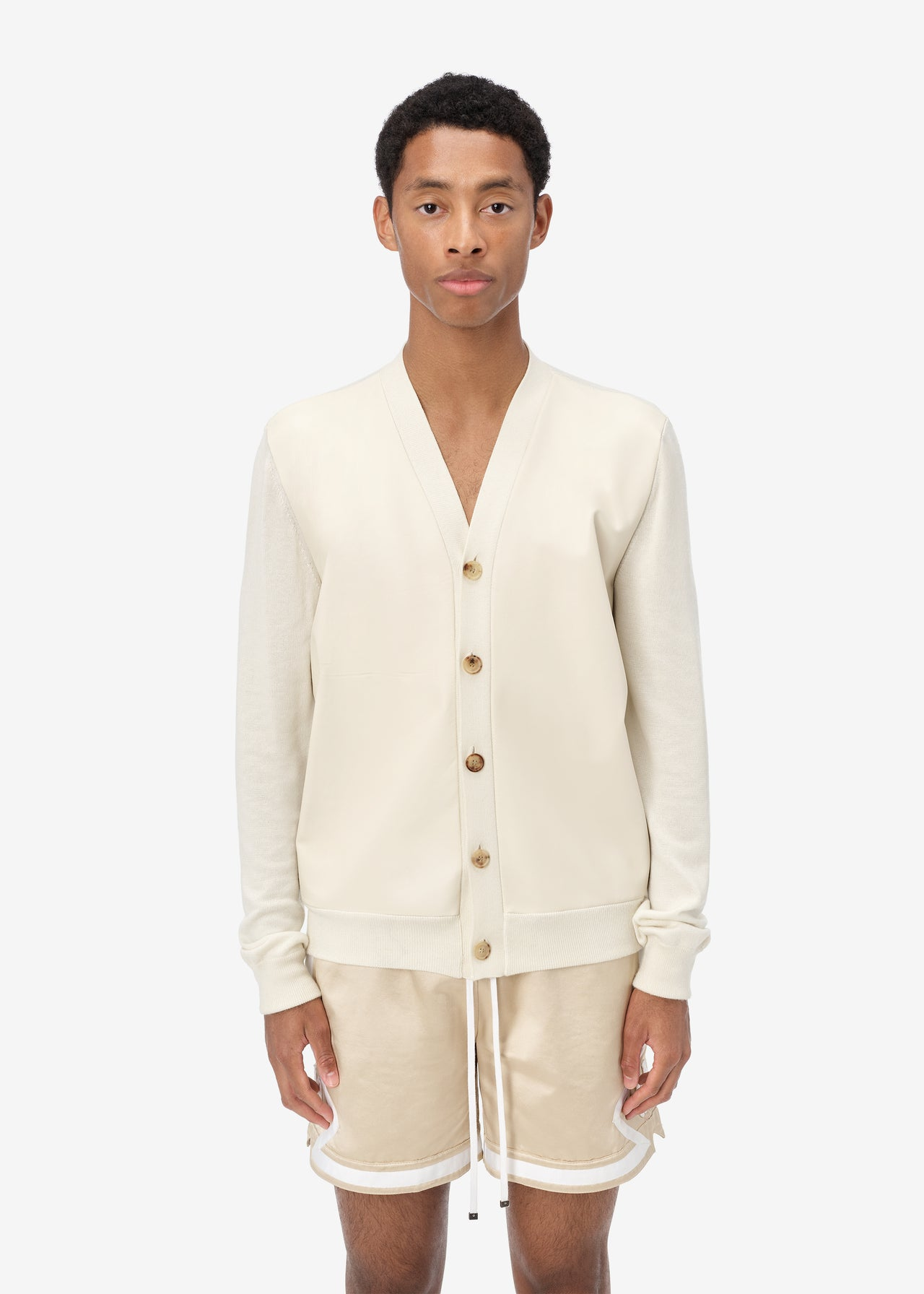 LEATHER FRONT CARDIGAN  - Alabaster