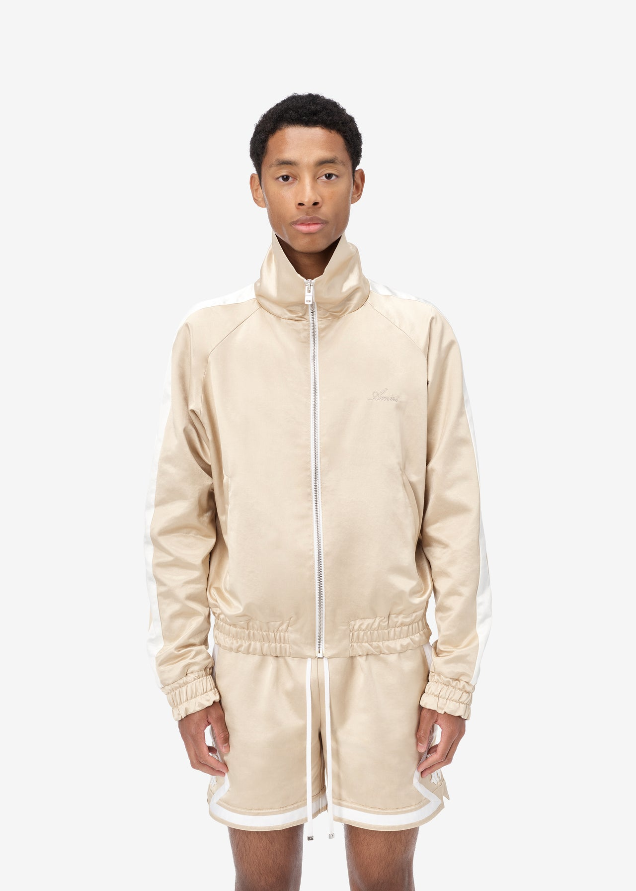 ZIP TRACK JACKET - CHAMPAGNE / WHITE