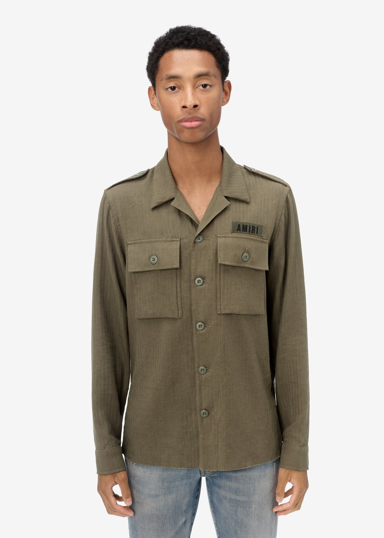 CASHMERE MILITARY SHIRT - MILITARY GREEN