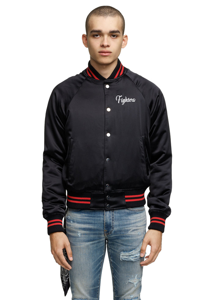 Fighters Embroidered Baseball Jacket Black/Red