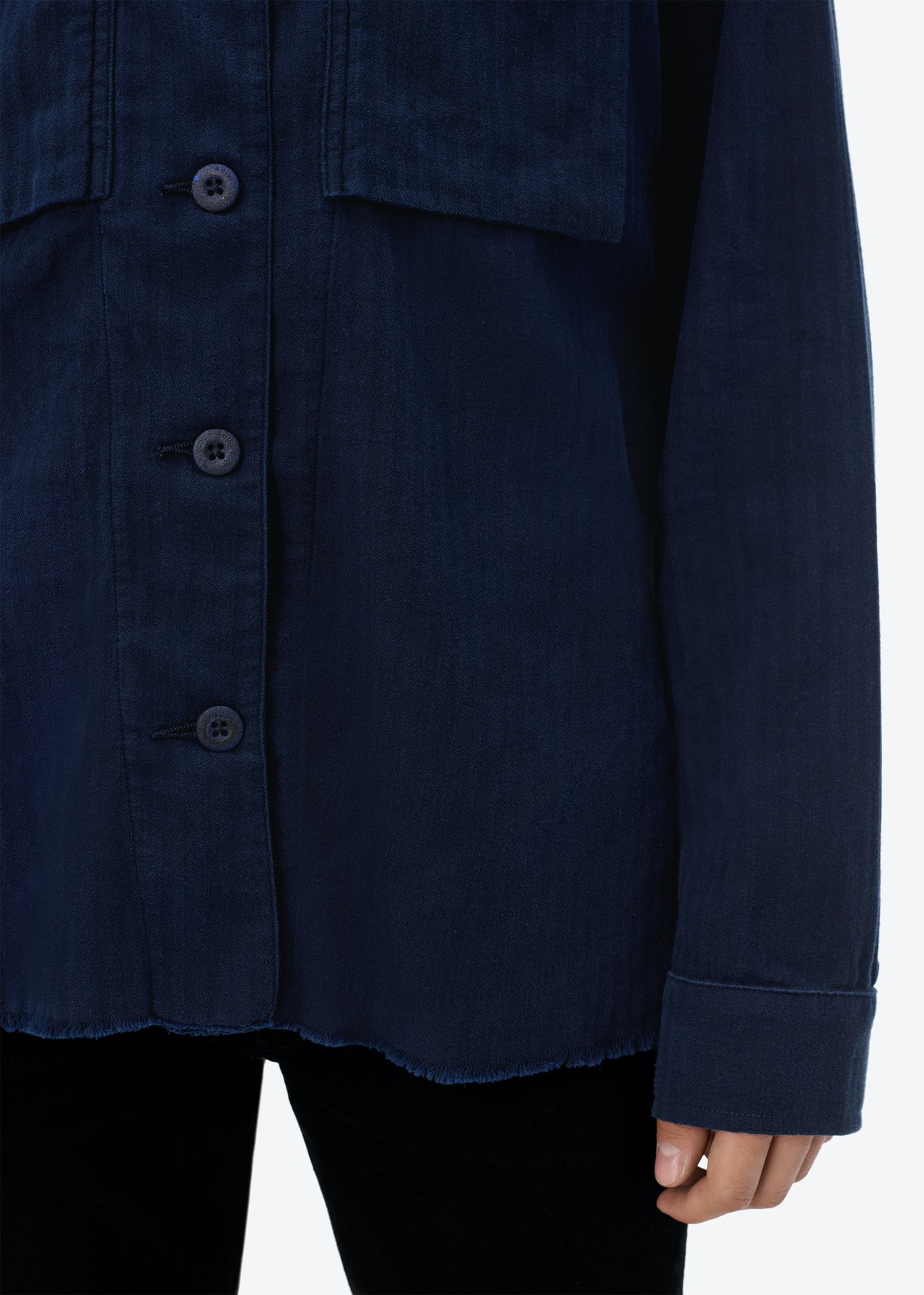 CASHMERE MILITARY SHIRT - NAVY