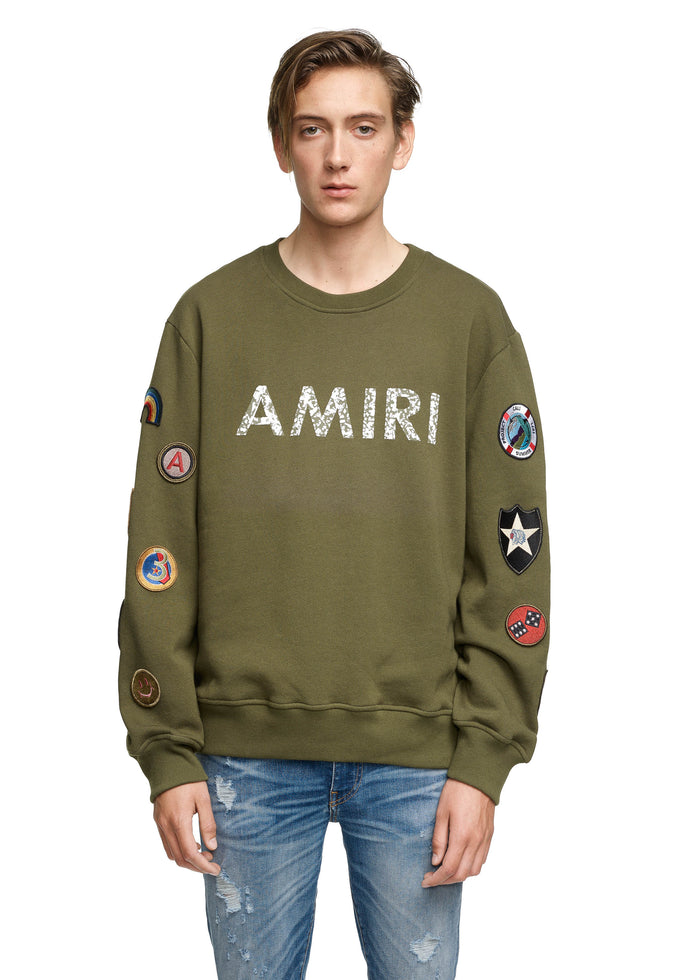 AMIRI Patch Crew Olive/White