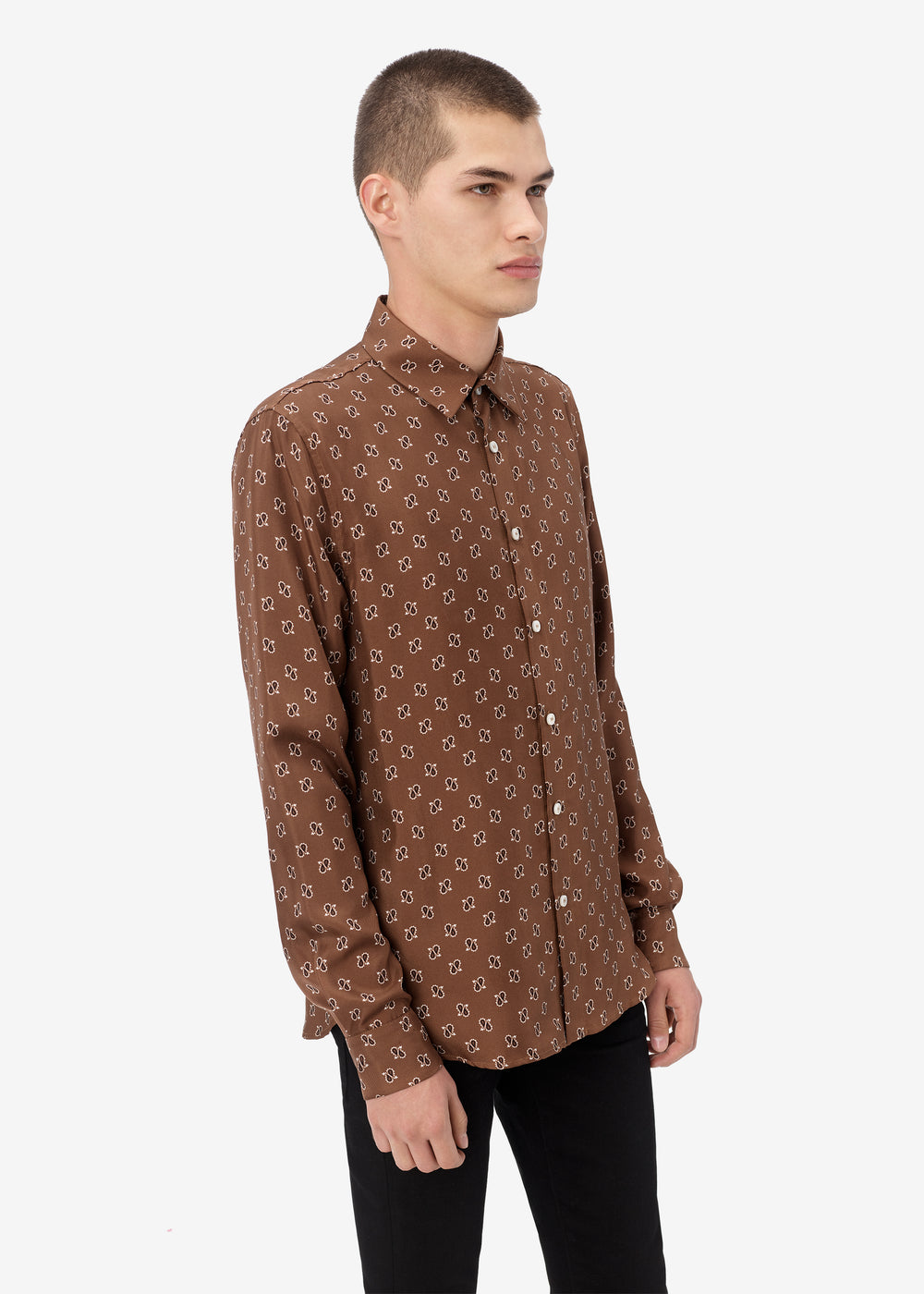 MICRO PAISLEY LONG SLEEVE SHIRT - DARK BROWN