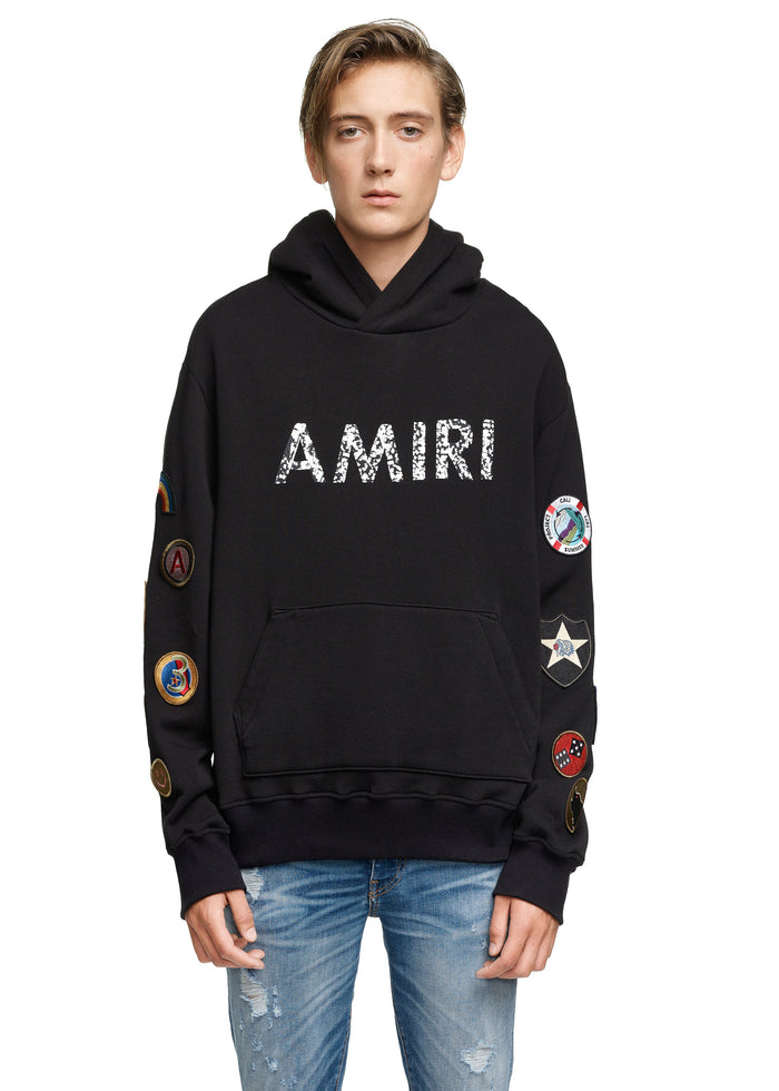 AMIRI Patch Hoodie Black/White