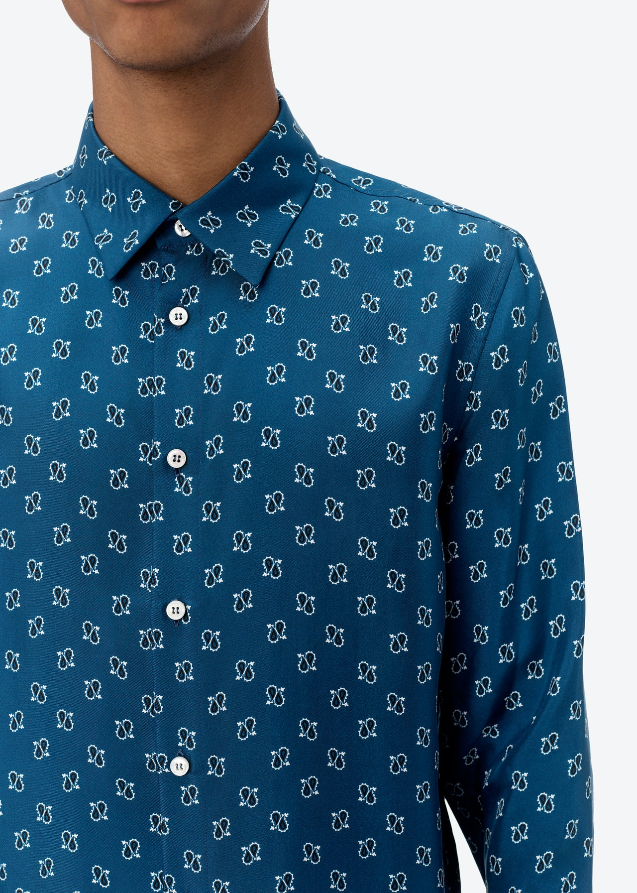 MICRO PAISLEY LONG SLEEVE SHIRT - NAVY