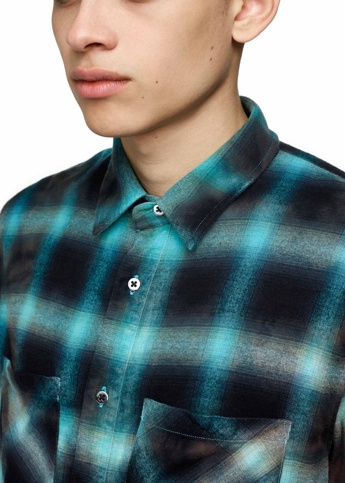Tie Dye Blotch Plaid Blue/Black