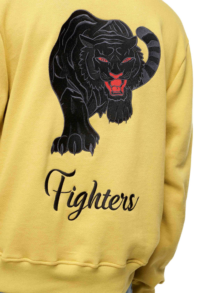 Fighters Embroidered Hoodie Yellow