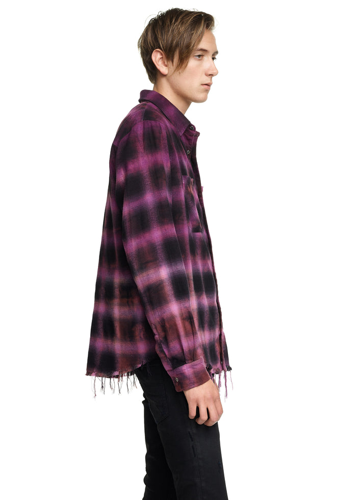 Tie Dye Blotch Plaid Purple/Black