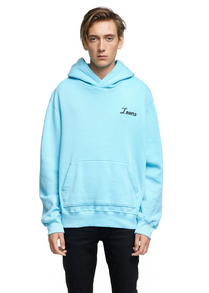 Lovers Embroidered Hoodie Aqua