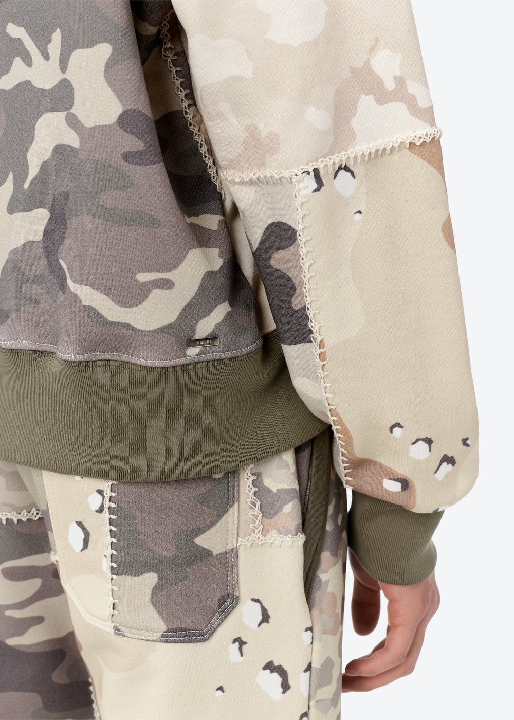 FITTED PATCHWORK CAMO HOODIE - Camo