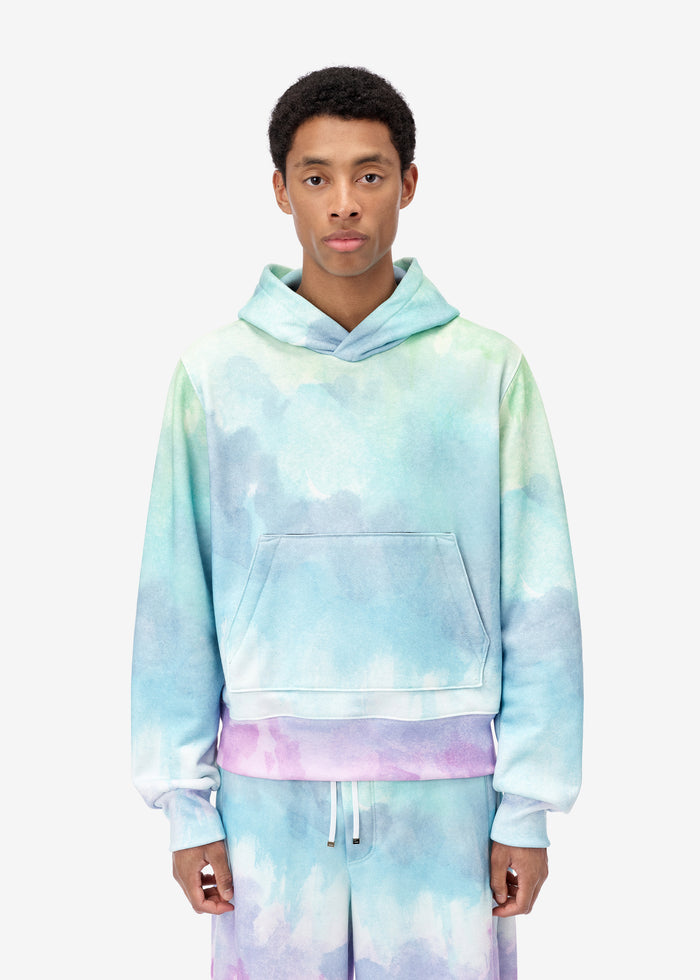 Watercolor Print Hoodie - Multi-Color