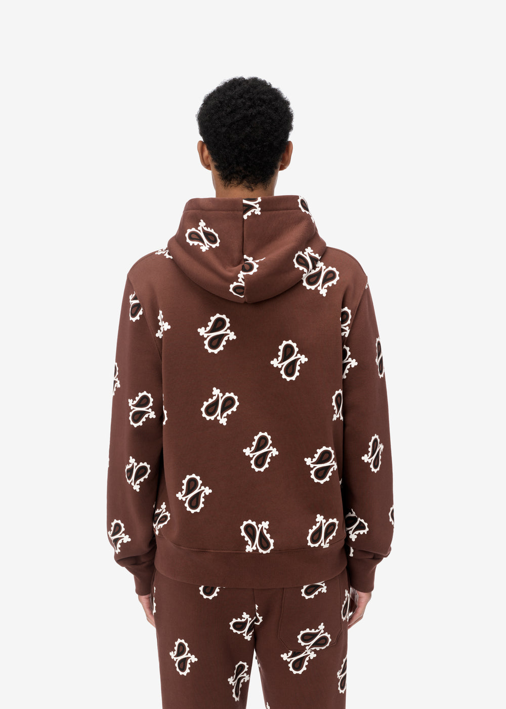 PAISLEY ALL OVER FITTED HOODIE - DARK BROWN