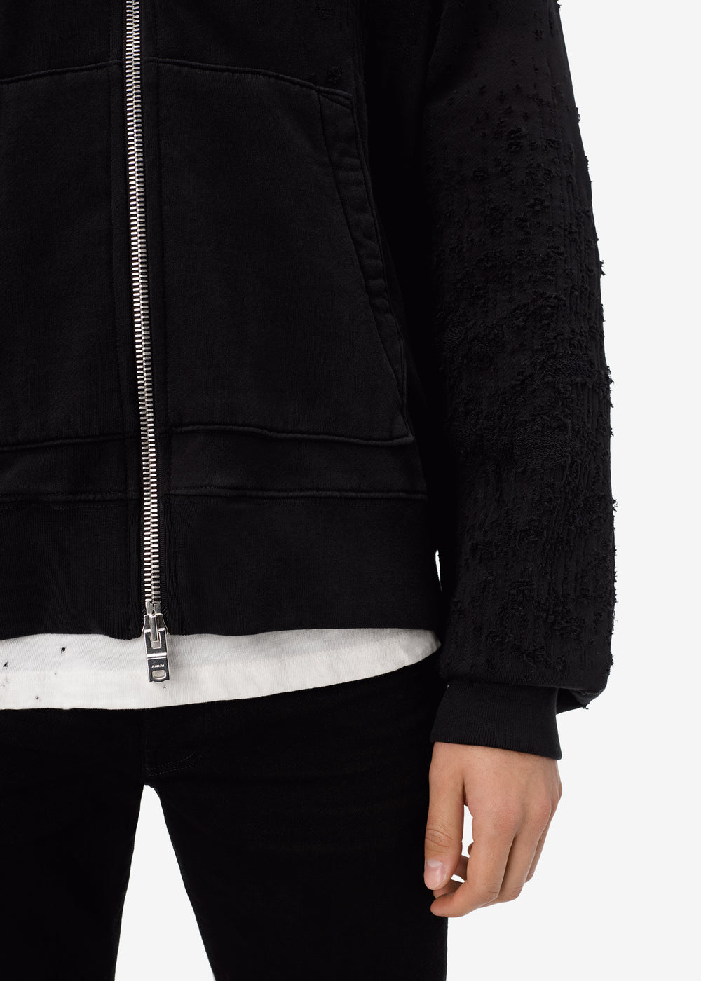 SHOTGUN FITTED ZIP UP HOODIE - BLACK