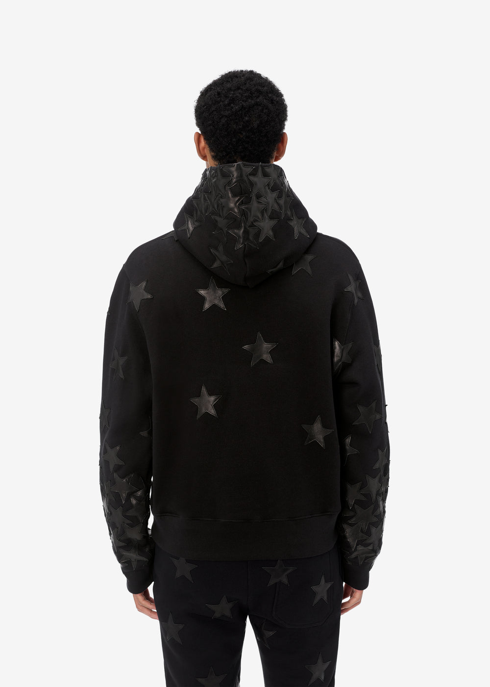 CHEMIST LEATHER STAR HOODIE - BLACK