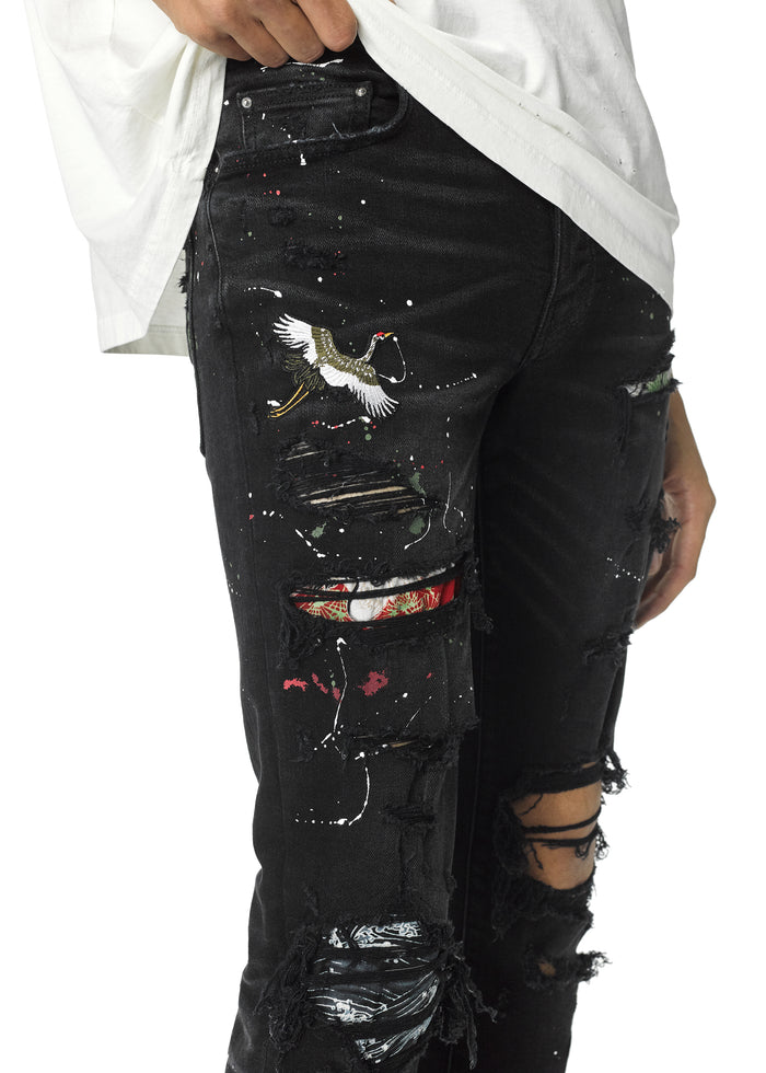 Art Patch Jean Aged Black