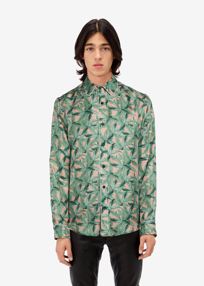 Small Banana Leaves Long Sleeve Pajama Shirt - Green / Peach
