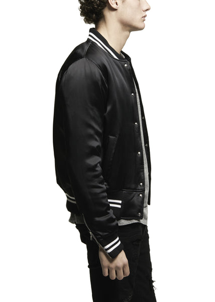 SILK BASEBALL JACKET BLACK