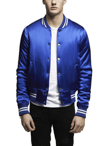 SILK BASEBALL JACKET BLUE