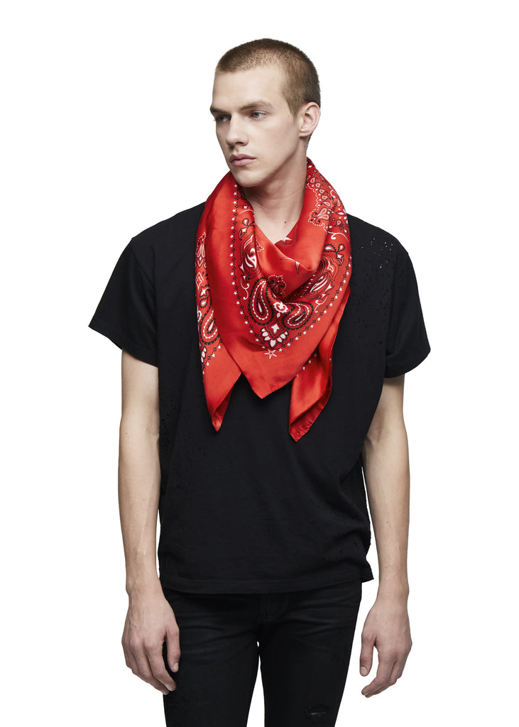 SILK SCARF BANDANA RED