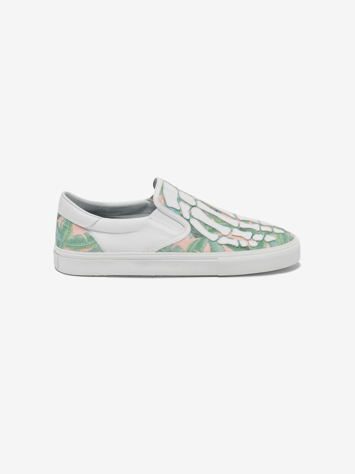 Banana Leaf Skel Toe Slip On - Green / Peach / White