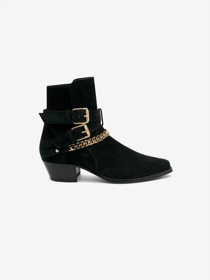 Suede Jodhpur Chain Boot - Black