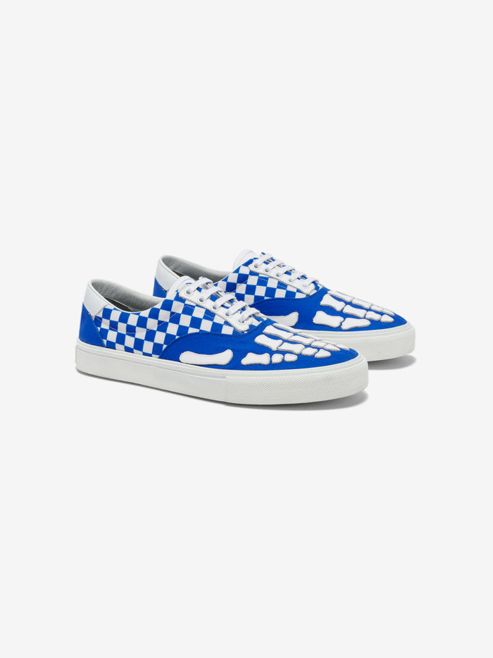 Checkered Skel Toe Lace Up - Blue / White