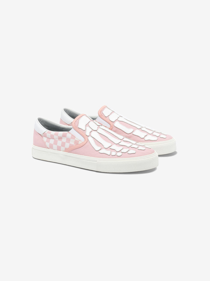 Checkered Skel Toe Slip On - Pink / White