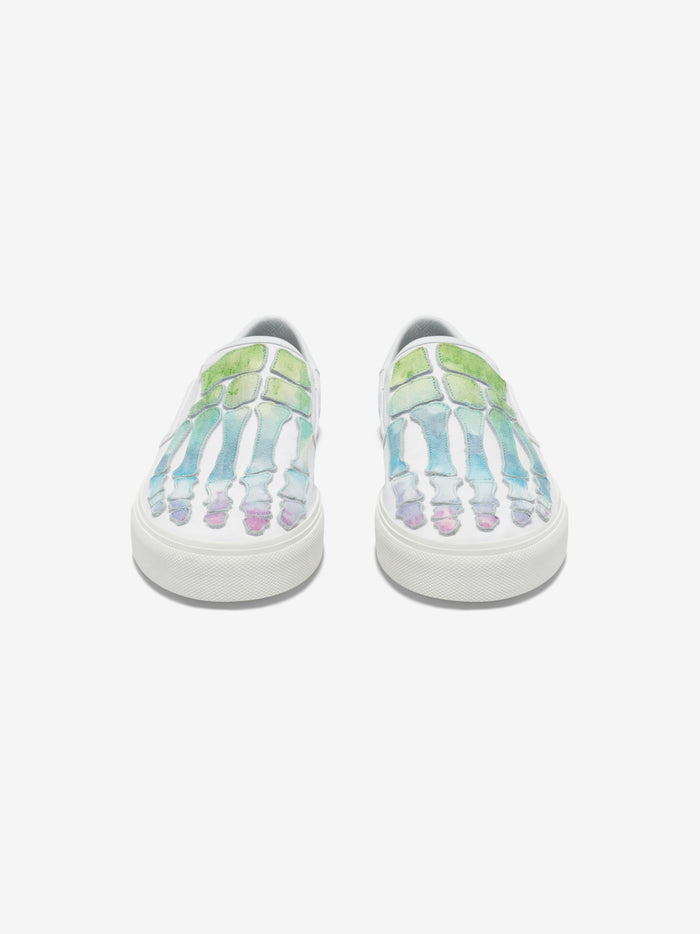 Watercolor Skel Toe Slip On - White / Multi-Color