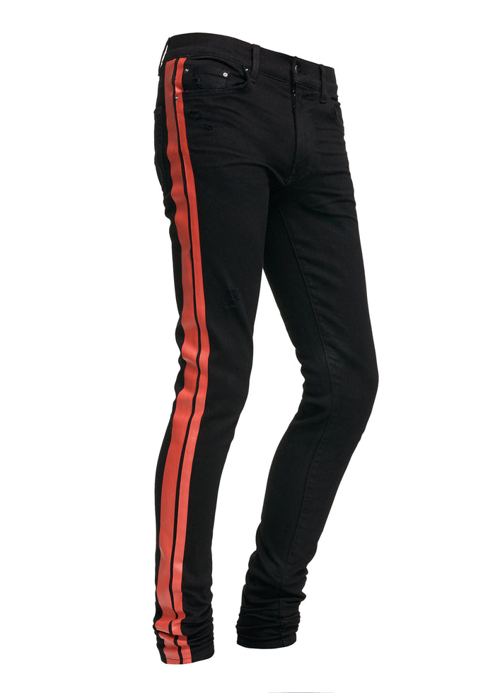 Stack Track Jean Black/Red