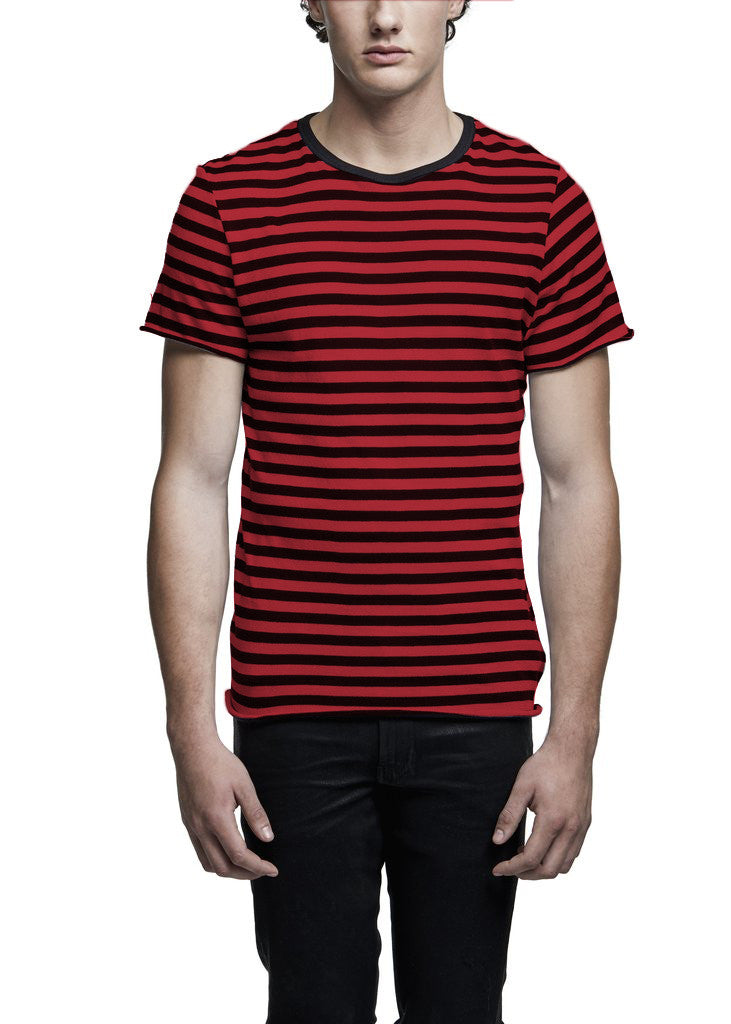 CASHMERE STRIPE TEE BLACK/RED