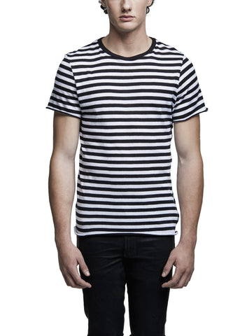 CASHMERE STRIPE TEE BLACK/WHITE