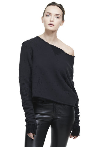 OFF SHOULDER SHOTGUN SWEATSHIRT BLACK