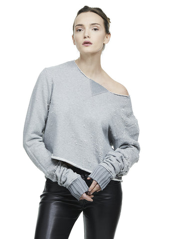 OFF SHOULDER SHOTGUN SWEATSHIRT GREY