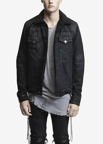 Shearling Trucker Jacket Black