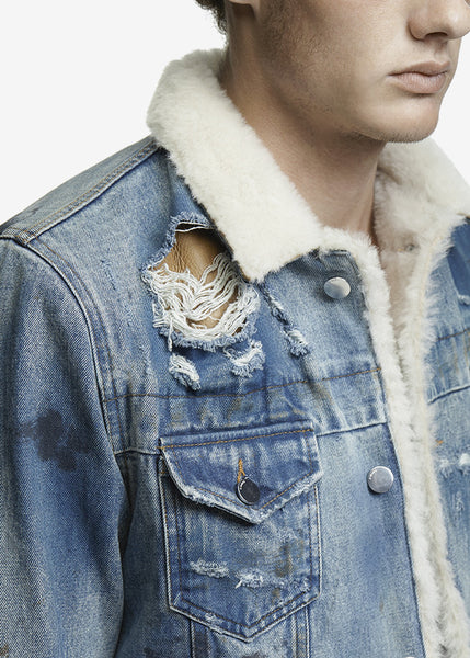 Shearling Trucker Jacket Med Indigo