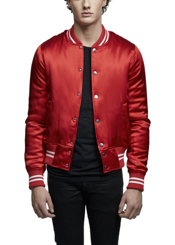 SILK BASEBALL JACKET RED
