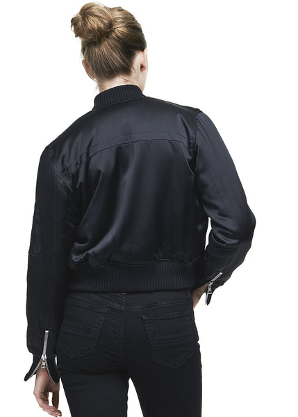 Silk Bomber Jacket Black
