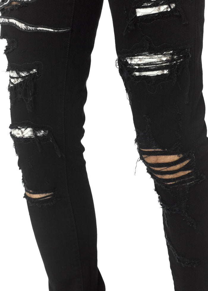 Snake Patch Jean Black