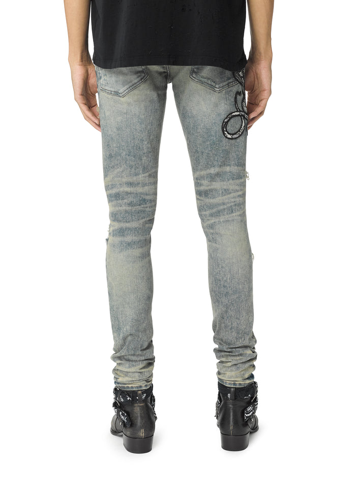 Snake Patch Jean Dirty Indigo