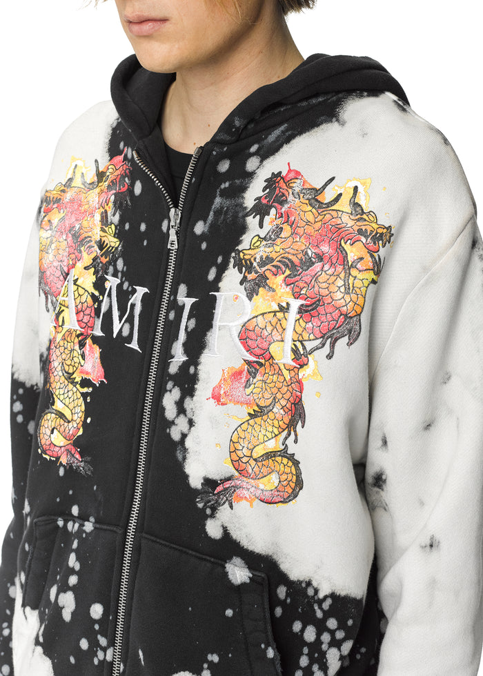 Watercolor Dragon Zip Up Hoodie Black