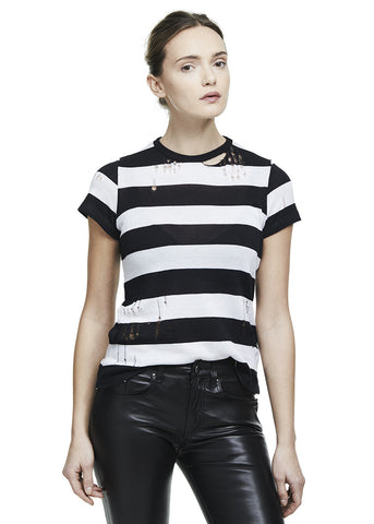 WIDE STRIPE CASHMERE TEE BLACK/WHITE