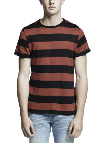 WIDE STRIPE CASHMERE TEE BLACK/RED