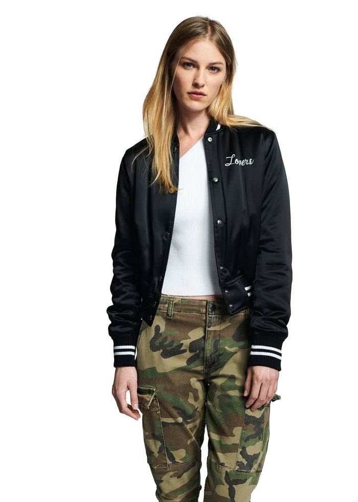 Lovers Silk Baseball Jacket Black